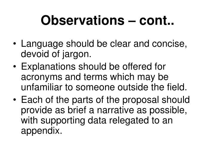 Observations – cont..