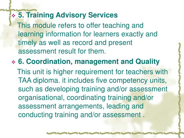 5. Training Advisory Services