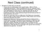 next class continued