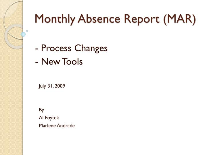 Monthly absence report mar
