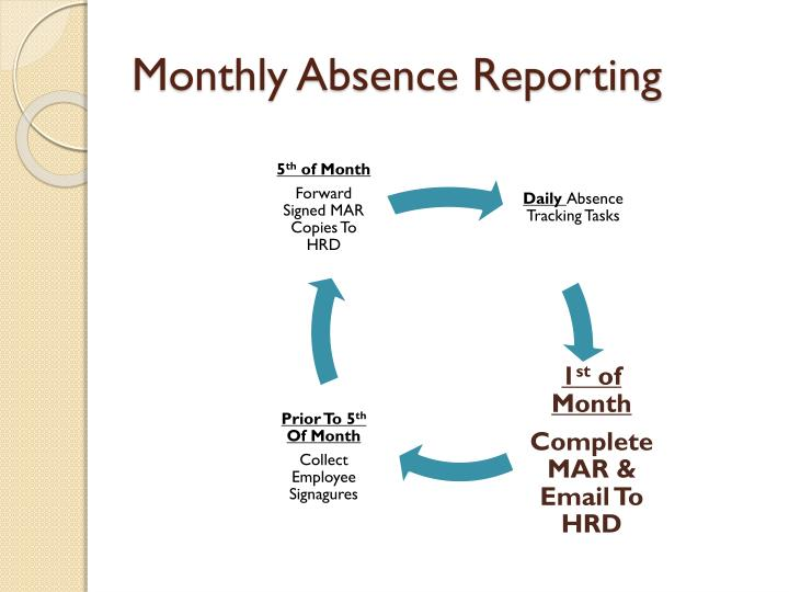 Monthly absence reporting