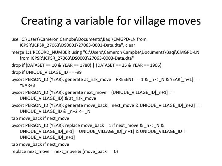 Creating a variable for village moves