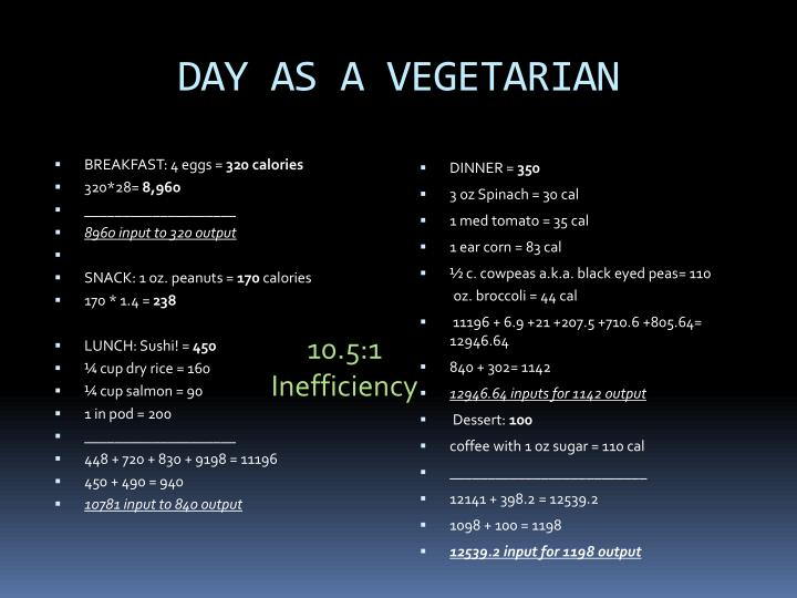 DAY AS A VEGETARIAN
