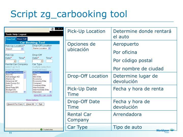 Script zg_carbooking tool