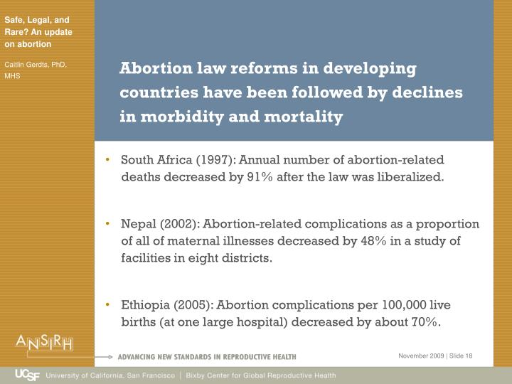 Abortion law reforms in developing countries have been followed by declines in morbidity and mortality