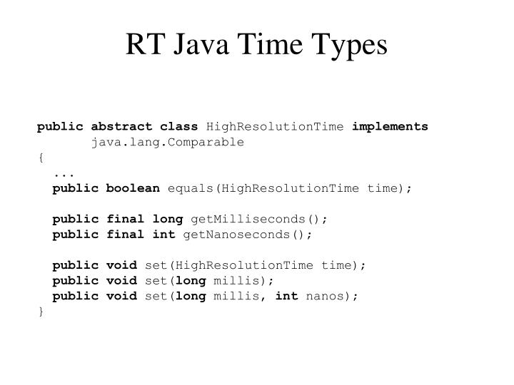 RT Java Time Types