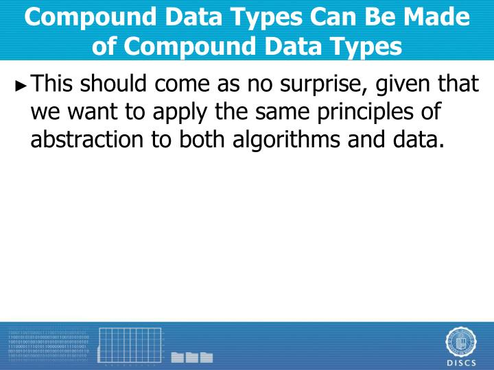 Compound Data Types Can Be Made of Compound Data Types