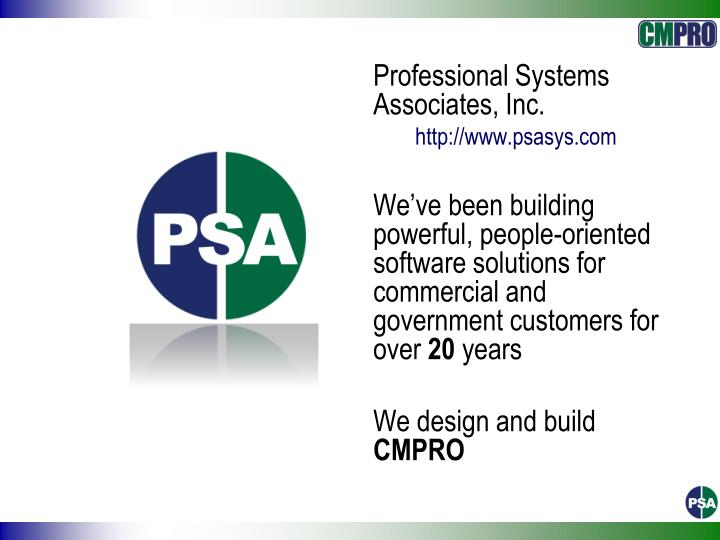 Professional Systems Associates, Inc.