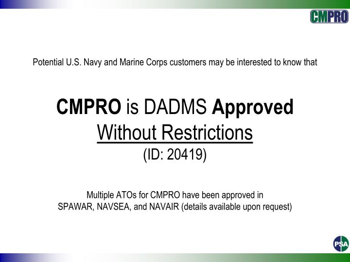 Potential U.S. Navy and Marine Corps customers may be interested to know that