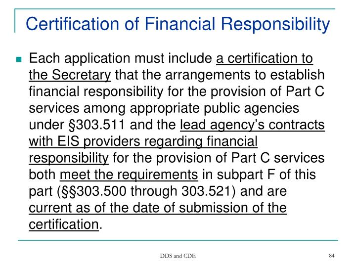 Certification of Financial Responsibility
