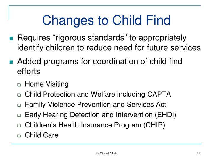 Changes to Child Find