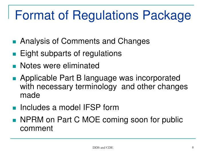 Format of Regulations Package