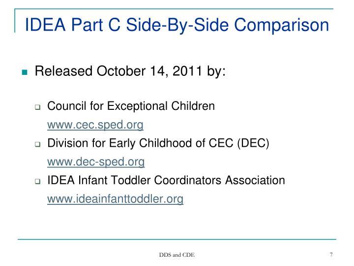 IDEA Part C Side-By-Side Comparison