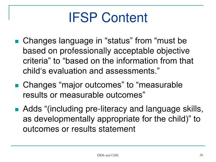 IFSP Content
