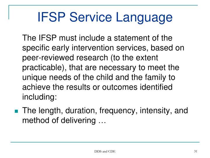 IFSP Service Language