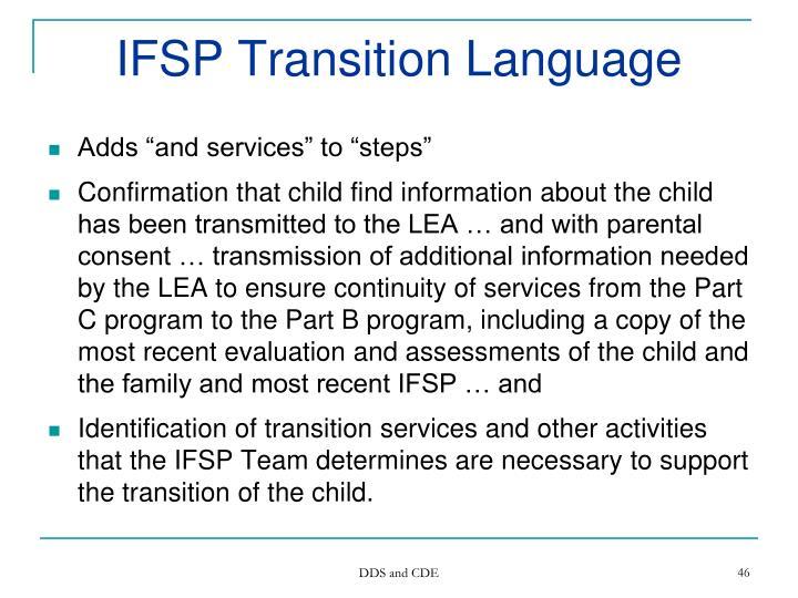 IFSP Transition Language