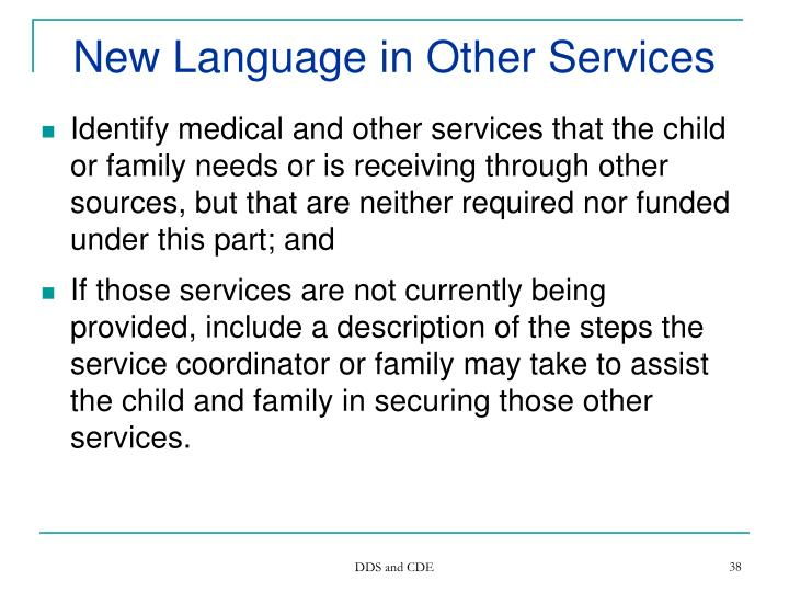 New Language in Other Services