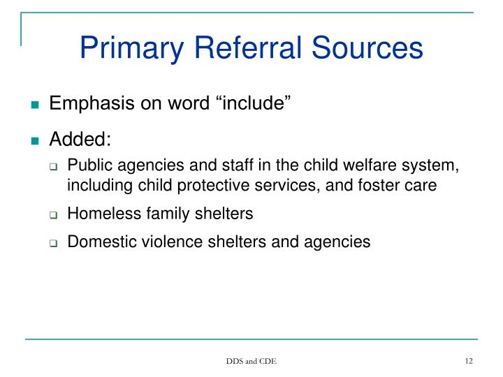 Primary Referral Sources