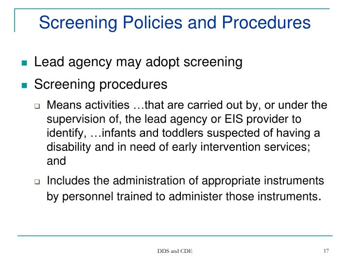 Screening Policies and Procedures