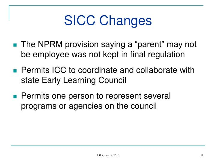 SICC Changes