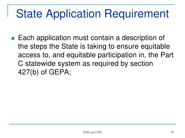 State Application Requirement