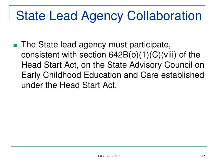 State Lead Agency Collaboration