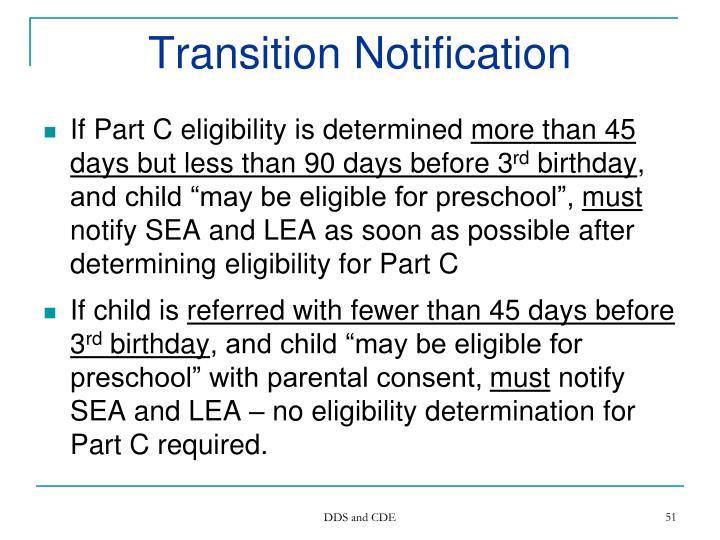 Transition Notification