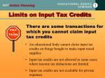 limits on input tax credits