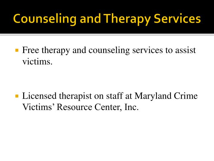 Counseling and Therapy Services