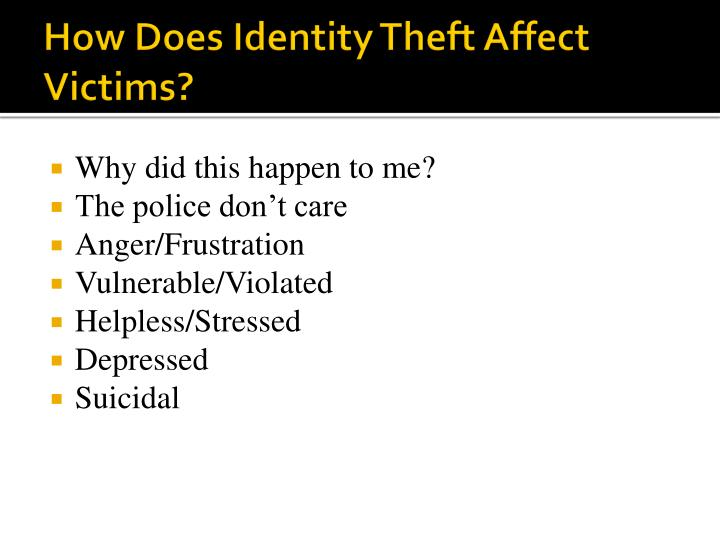 How Does Identity Theft Affect Victims?