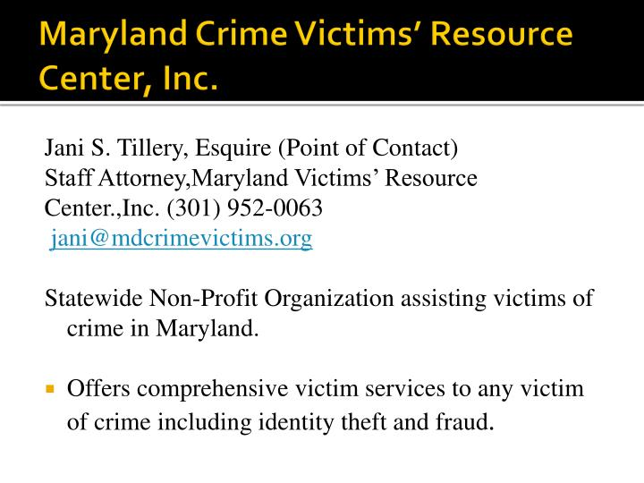 Maryland crime victims resource center inc1