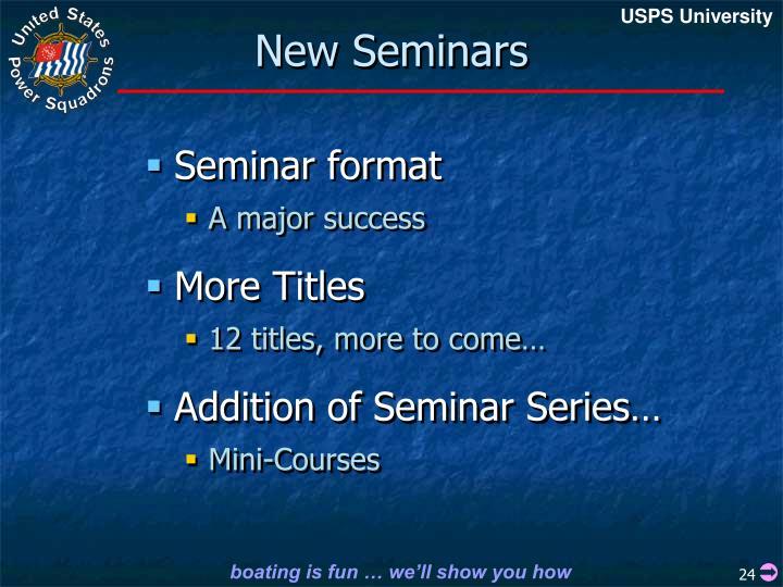 New Seminars