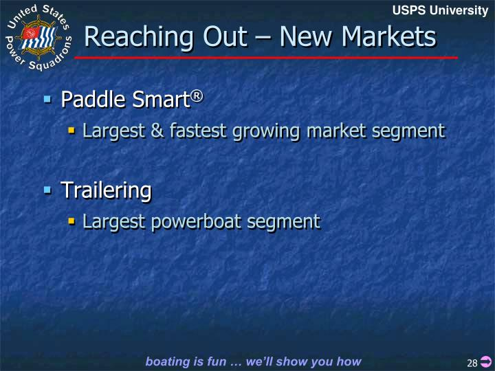 Reaching Out – New Markets