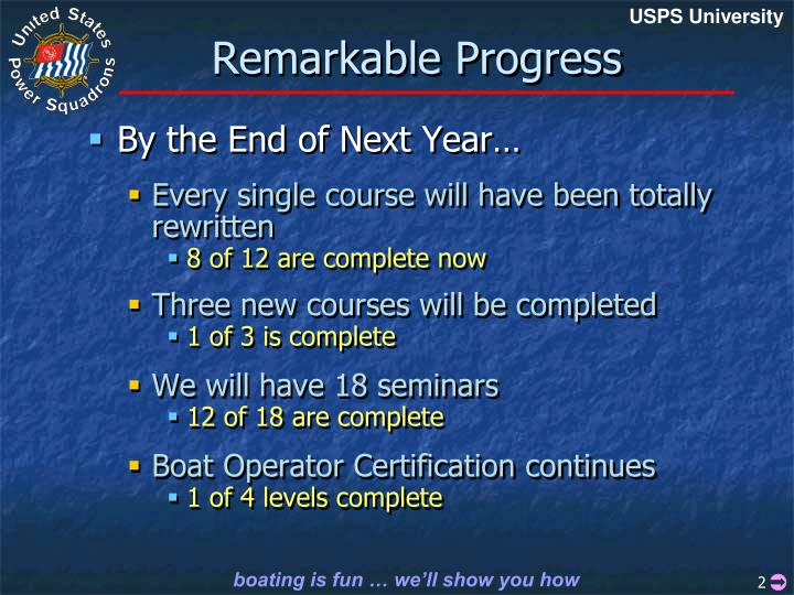 Remarkable progress