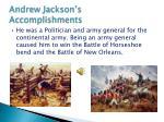 andrew jackson s accomplishments