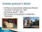 andrew jackson s death