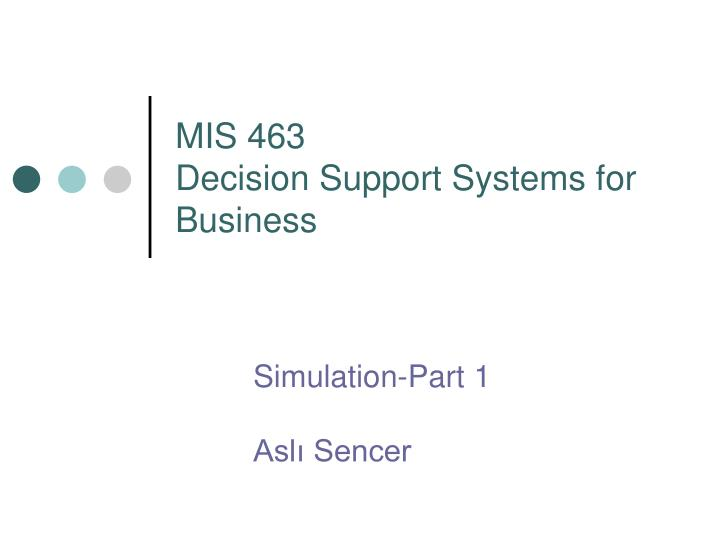 mis 463 decision support systems for business n.