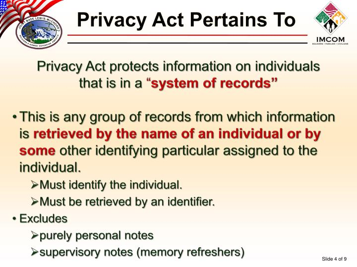 Privacy Act Pertains To