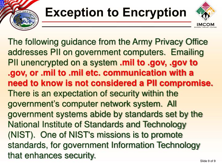 Exception to Encryption