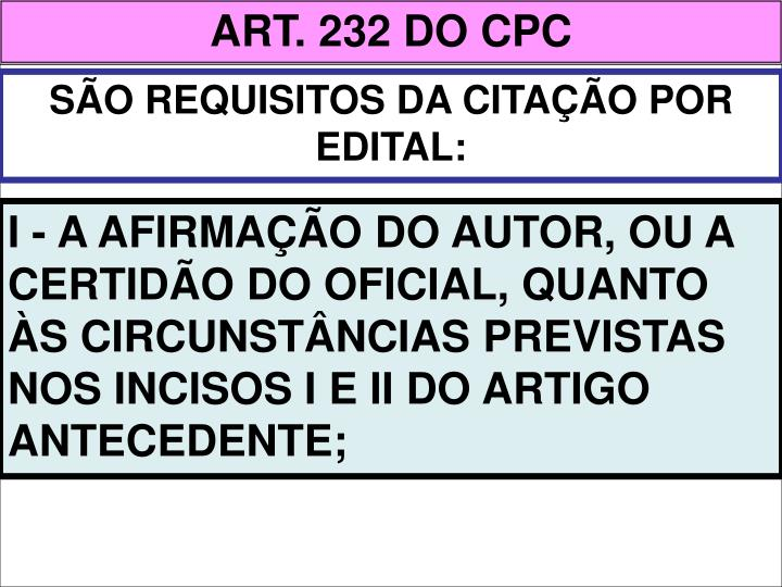 ART. 232 DO CPC