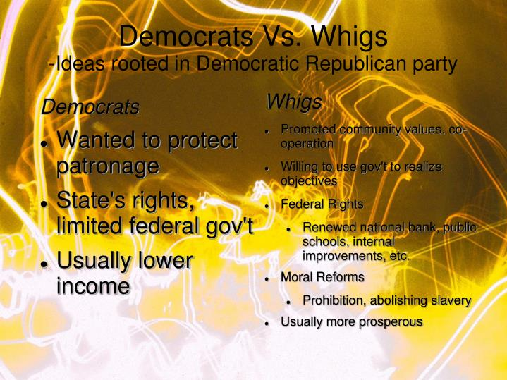 Democrats vs whigs ideas rooted in democratic republican party