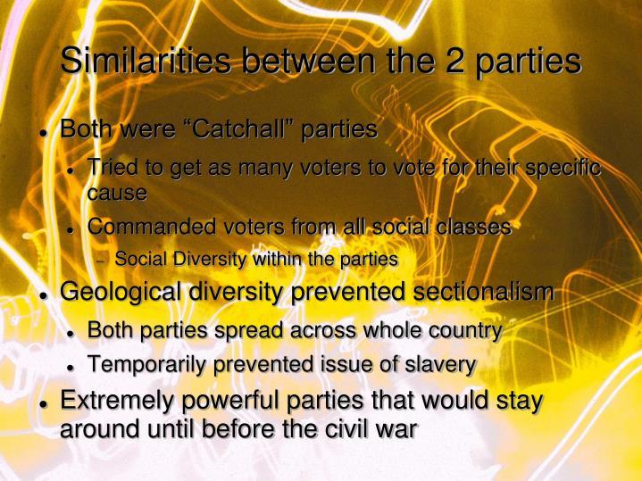 Similarities between the 2 parties