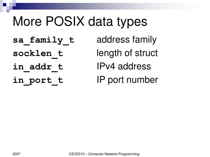 More POSIX data types