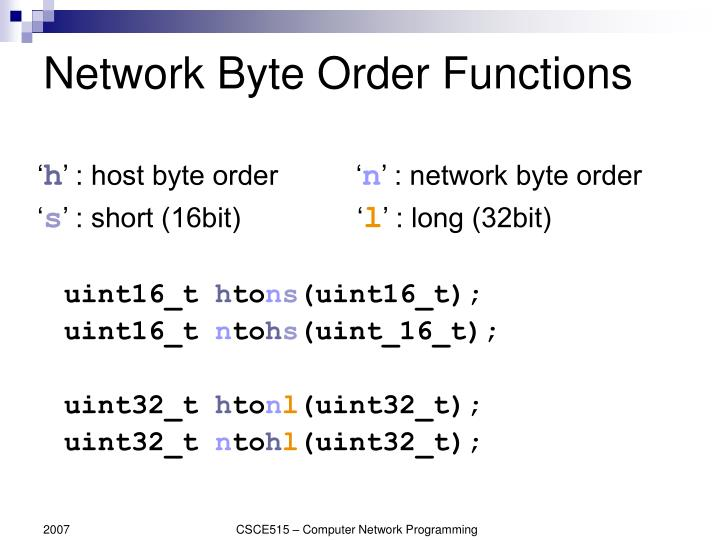 Network Byte Order Functions