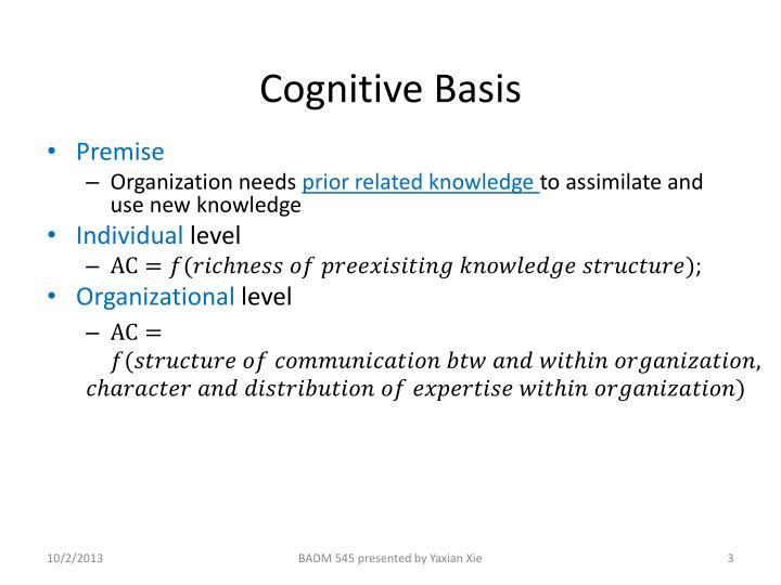 Cognitive b asis