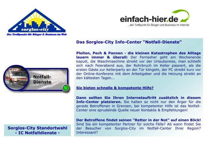 "Das Sorglos-City Info-Center ""Notfall-Dienste"""