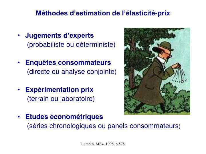 Méthodes d'estimation de l'élasticité-prix