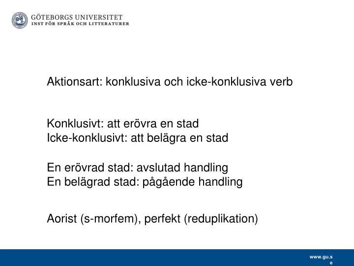 Aktionsart: konklusiva och icke-konklusiva verb
