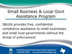 small business local govt assistance program