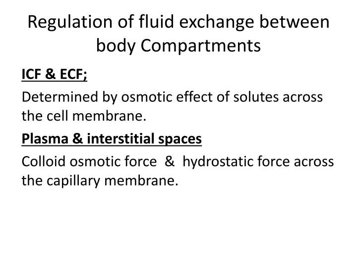 Regulation of fluid exchange between body Compartments